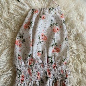 Tie Up Halter Top Floral